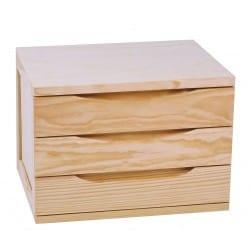 Box 3 tiroirs Brut en pin...